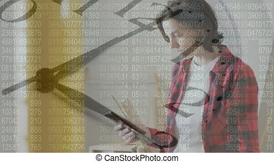 Clock ticking and data processing against female architect ...