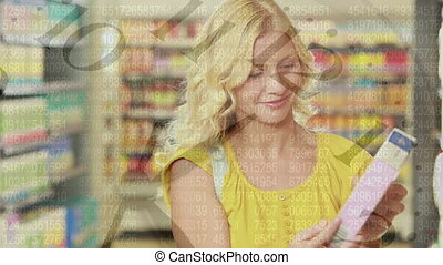 Clock ticking and data processing against woman shopping in ...