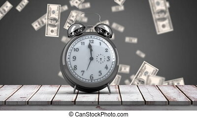 Clock ticking on wooden floor and dollars falling down