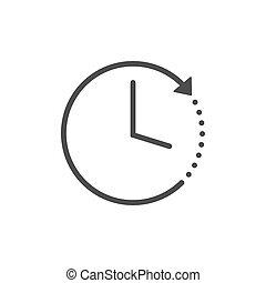 Clock, time, alarm icon. Vector illustration, flat design.