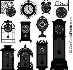 A set of antique old clocks design in detail.