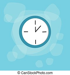 Clock Time Blue Icon Flat Vector