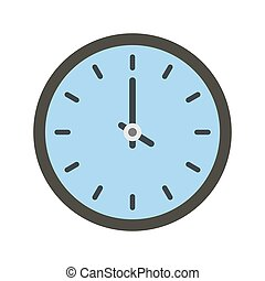 Clock time icon, flat style
