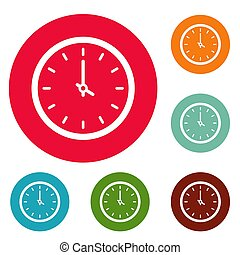 Clock time icons circle set