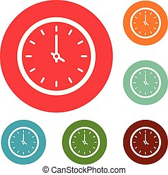 Clock time icons circle set vector