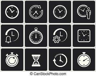 Clock time icons set