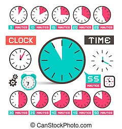 Clock - Time Vector Icons Set Isolated on White Background