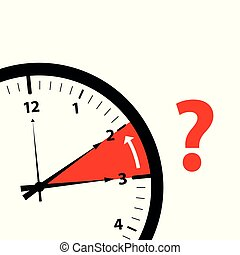 clock time zone change icon image with red question mark
