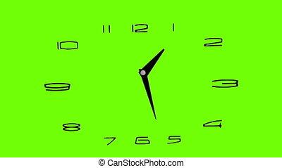 clock, timelapse 12H - green screen - copy space.