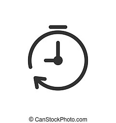 Clock timer icon in flat style. Time alarm illustration on white isolated background. Stopwatch clock business concept.