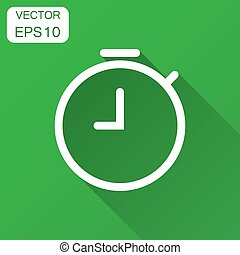Clock timer icon in flat style. Time alarm illustration with long shadow. Stopwatch clock business concept.