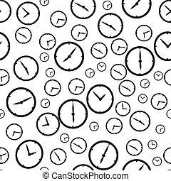 Clock timer seamless pattern background. Business flat...
