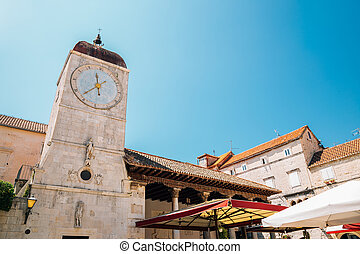 Clock tower and old town square in Trogir, Croatia