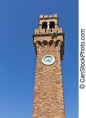 Clock tower at San Stefano square in Murano, Venice, Italy.