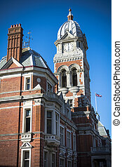 Clock tower at the Eastbourne town hall in Sussex