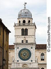 Clock tower building of medieval origins overlooking Piazza dei Signori in Padova, Italy