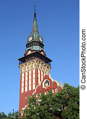 Clock tower - Church with clock tower in Subotica, Serbia