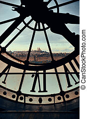 Clock Tower - City view through Giant clock tower in Paris, ...