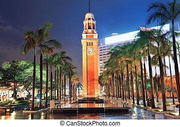 Clock Tower - Clock tower in Hong Kong at night