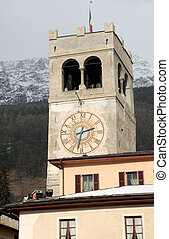 Clock tower in Bormio, Italy - Clock tower in Bormio - ...