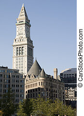 Clock Tower in Boston with Blue Sky