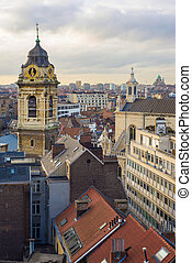 clock tower in Brussels - clock tower of church Saint...
