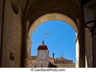 Clock tower in central square of Trogir, Croatia