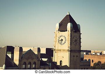 Clock Tower in downtown Savannah, Georgia, USA