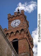 Clock tower in Pienza Tuscany