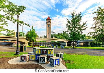 Clock Tower in Riverfront park, Spokane, Washington