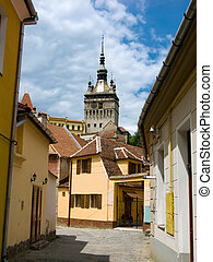 Clock tower in Sighisoara, landmark of Transylvania