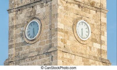 Clock tower in the Historic part of Antalya Kaleici...