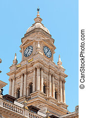 Clock tower of City Hall in Cape Town, South Africa