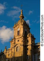 Clock tower of Corazon de Maria Church. San Sebastian, Spain...