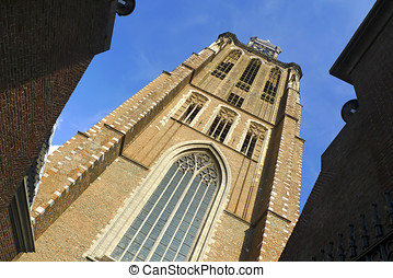 Clock tower of Dordrecht cathedral, Holland - The clock...