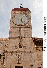 Clock tower of St Sebastian church (1476). Trogir, Croatia
