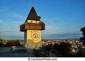 Clock tower on Schlossberg in Graz, Austria.