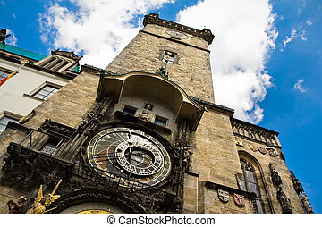 Clock tower on the central square of Prague