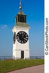 clock tower on the Petrovaradin Fortress in Novi Sad,...