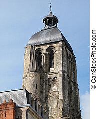 Clock tower, Saint MArtin basilica, Tours, France.