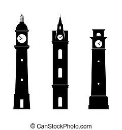 Clock towers - Set of three Clock towers