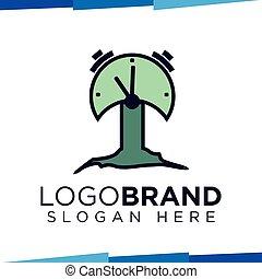 Clock tree logo vector template