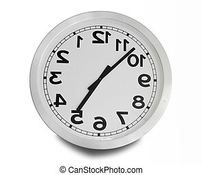 Clock turn upside down isolated on white background