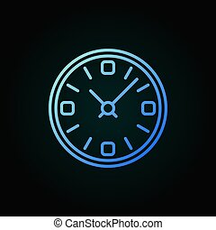 Clock vector blue line icon. Time concept linear sign or...