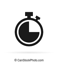 Clock vector icon on white background.