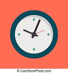 Clock vector icon with long shadow. Vector illustration isolated on red background