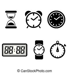 clock vector icons set clock symbol isolated on white background