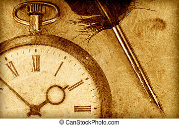 Clock  - Vintage watch and quill pen in sepia