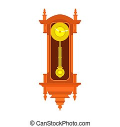Clock wall vector pendulum old antique time illustration. Vintage retro hour isolated design watch minute. Alarm decoration