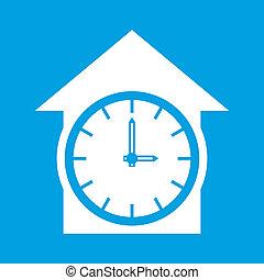Clock white icon
